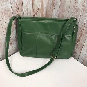 Vintage green leather shoulder bag Stone Mountain